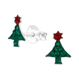 Christmas Tree - 925 Sterling Silver Kids Ear Studs with Crystal SD42424