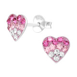 Heart - 925 Sterling Silver Kids Ear Studs with Crystal SD42426