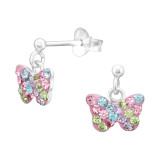 Butterfly - 925 Sterling Silver Kids Ear Studs with Crystal SD42427