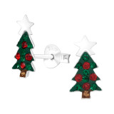 Christmas Tree - 925 Sterling Silver Kids Ear Studs with Crystal SD42429