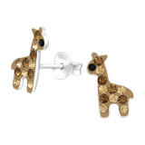 Giraffe - 925 Sterling Silver Kids Ear Studs with Crystal SD42772