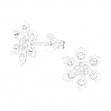 Snowflake - 925 Sterling Silver Kids Ear Studs with Crystal SD42814