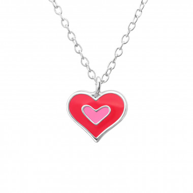 Double Heart - 925 Sterling Silver Kids Necklaces SD24348