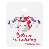 Unicorn Lover Ear Studs On Card - 925 Sterling Silver Kids Jewelry Sets SD34106