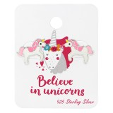 Unicorn Lover Ear Studs On Card - 925 Sterling Silver Kids Jewelry Sets SD34107