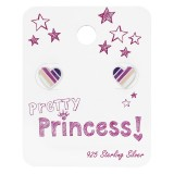 Colorful Heart Ear Studs On Princess Card - 925 Sterling Silver Kids Jewelry Sets SD34112