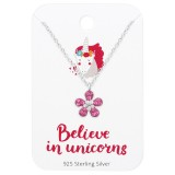 Flower Necklace On Believe In Unicorns Card - 925 Sterling Silver Kids Jewelry Sets SD36099