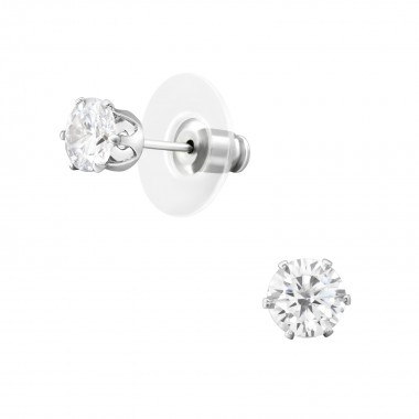 6mm Round Fashion Ear Studs With Cubic Zirconia - Alloy Earrings & Studs SD35954