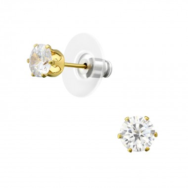 6mm Round Fashion Ear Studs With Cubic Zirconia - Alloy Earrings & Studs SD35955