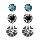 Set Of Fashion Ear Studs With Imitation Blue Turquoise And Imitation Black Onyx - Alloy Earrings & Studs SD35965