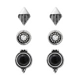 Set Of Fashion Ear Studs With Crystal And  Imitation Black Onyx - Alloy Earrings & Studs SD35966