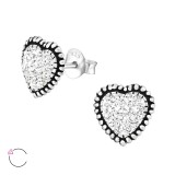 Heart - 925 Sterling Silver La Crystale Studs SD32759
