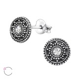 Round Antique - 925 Sterling Silver La Crystale Studs SD32915