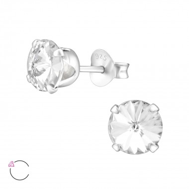 Round 6mm - 925 Sterling Silver La Crystale Studs SD35037