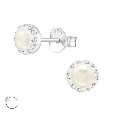 Round - 925 Sterling Silver La Crystale Studs SD39026