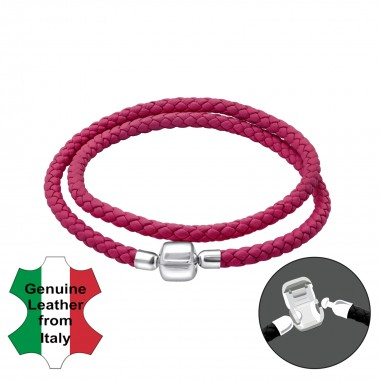 Leather Bead Bracelet With ...