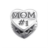 Heart Mom - 925 Sterling Silver Beads with CZ/Crystal SD10076