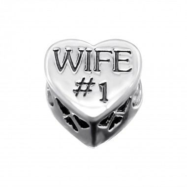 Heart Wife - 925 Sterling Silver Beads with CZ/Crystal SD10077