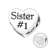 Heart Sister - 925 Sterling Silver Beads with CZ/Crystal SD10078