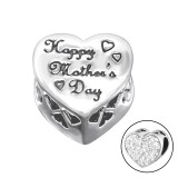 Heart Happy Valentine's Day - 925 Sterling Silver Beads with CZ/Crystal SD10080