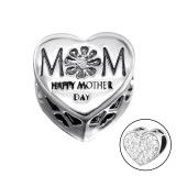 Heart Mom - 925 Sterling Silver Beads with CZ/Crystal SD10081