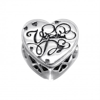 Heart - 925 Sterling Silver Beads with CZ/Crystal SD10082