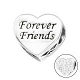 Heart Forever Friends - 925 Sterling Silver Beads with CZ/Crystal SD10413