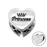 Heart Princess - 925 Sterling Silver Beads with CZ/Crystal SD10414