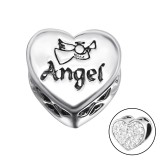 Heart Angel - 925 Sterling Silver Beads with CZ/Crystal SD10415