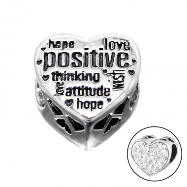 Heart Positive - 925 Sterling Silver Beads with CZ/Crystal SD10516