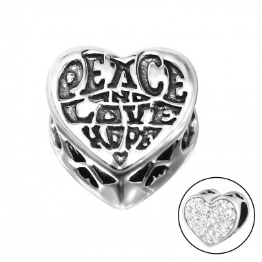 Heart Love - 925 Sterling Silver Beads with CZ/Crystal SD10519