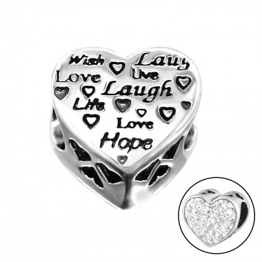 Heart Love - 925 Sterling Silver Beads with CZ/Crystal SD10606