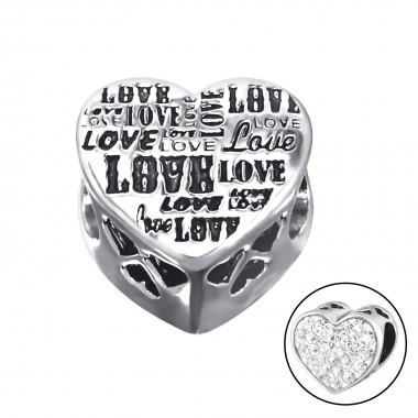 Heart Love - 925 Sterling Silver Beads with CZ/Crystal SD10607
