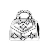 Shopping Bag - 925 Sterling Silver Beads with CZ/Crystal SD11114