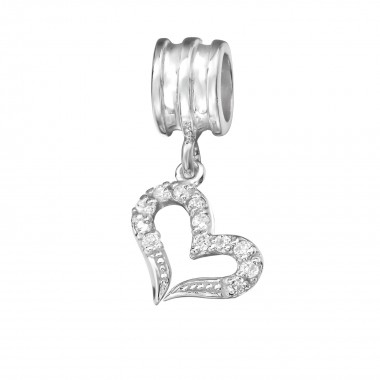 Hanging Heart - 925 Sterling Silver Beads with CZ/Crystal SD11933