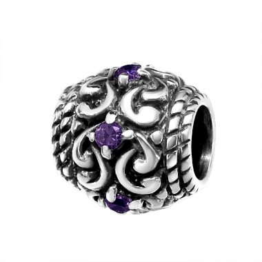 Round - 925 Sterling Silver Beads with CZ/Crystal SD12042