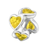 Heart shaped - 925 Sterling Silver Beads with CZ/Crystal SD13924