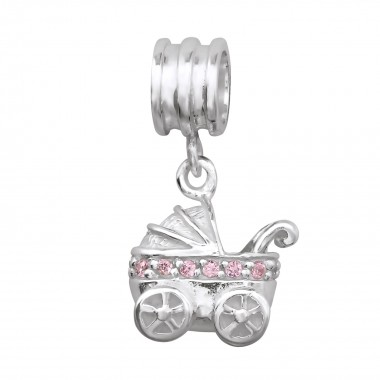 Hanging Baby Carriage - 925 Sterling Silver Beads with CZ/Crystal SD14837