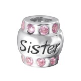 Sister - 925 Sterling Silver Beads with CZ/Crystal SD19830