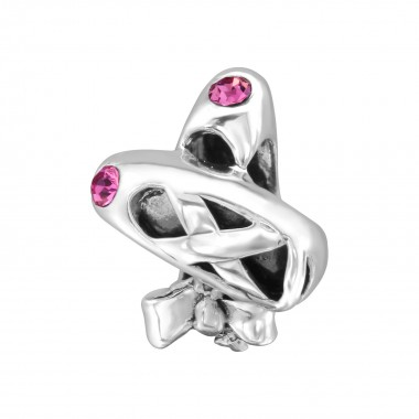 Ballet Shoes - 925 Sterling Silver Beads with CZ/Crystal SD28198