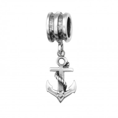 Anchor - 925 Sterling Silver Beads with CZ/Crystal SD29222