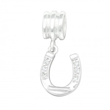 Horseshoe - 925 Sterling Silver Beads with CZ/Crystal SD29537