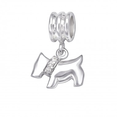 Dog - 925 Sterling Silver Beads with CZ/Crystal SD29538