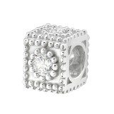 Jeweled Box - 925 Sterling Silver Beads with CZ/Crystal SD33051