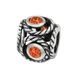 Round - 925 Sterling Silver Beads with CZ/Crystal SD3764