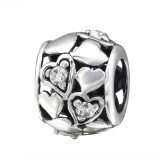 Heart - 925 Sterling Silver Beads with CZ/Crystal SD3783
