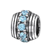 Round - 925 Sterling Silver Beads with CZ/Crystal SD5815
