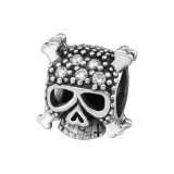 Skull - 925 Sterling Silver Beads with CZ/Crystal SD7486