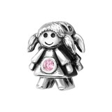Girl Doll - 925 Sterling Silver Beads with CZ/Crystal SD9520