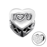 I Love You Heart - 925 Sterling Silver Beads with CZ/Crystal SD9930